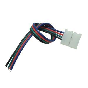 [半田不要でテープ接続] 10mm 非防水 RGBテープライト用 接続ケーブル+コネクタ 両端子 [1個]|kaito-shop2011