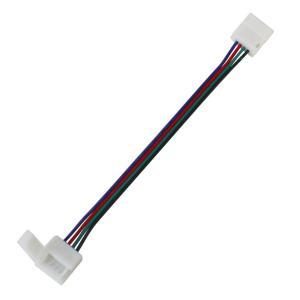 Kaito5595(50個) 10mm 防水 RGBテープライト用 接続ケーブル+コネクタ 両端子13.5cm (半田不要)|kaito-shop2011