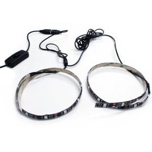 【スイッチ付き】 USB 防水LEDテープライト DC5V 3チップ(50cm×2本)+延長ケーブル15cm クールホワイト kaito-shop2011