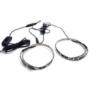 【スイッチ付き】 USB 防水LEDテープライト DC5V 3チップ(50cm×2本)+延長ケーブル1.8m 青色 kaito-shop2011