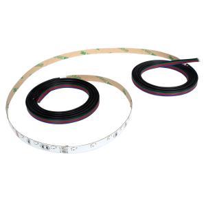 側面発光12V(1本) 非防水 RGB/カラフル LEDテープライト 120cm (60LED/m) ケーブル1.5m 両端子 [白ベース]|kaito-shop2011