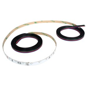 側面発光12V(1本) 非防水 RGB/カラフル LEDテープライト 180cm (60LED/m) ケーブル1.5m 両端子 [白ベース]|kaito-shop2011