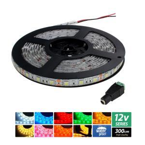 【ハイクオリティ】防水 LEDインテリアテープライト 3チップ 単体 (100V/12V兼用) 300cm|kaito-shop2011