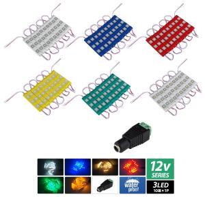 【単体】ハイクオリティ3チップ LEDモジュール 12V 3LED 10連 [コネクタ付] kaito-shop2011