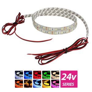 超安24V(ケーブル1.5m×1本) 防水LEDテープライト 3チップ 150cm 両端子 [白ベース]|kaito-shop2011