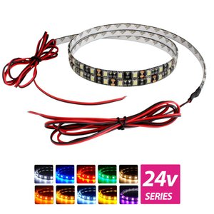 超安24V(ケーブル1.5m×1本) 防水LEDテープライト 3チップ 60cm 両端子 [黒ベース]|kaito-shop2011