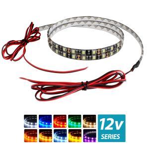 超安12V(ケーブル1.5m×1本) 防水LEDテープライト 3チップ 120cm 両端子 [黒ベース]|kaito-shop2011