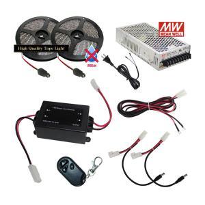 【らくらく200cm×2本セット】 非防水1チップ LEDテープライト+調光器+対応アダプター付き|kaito-shop2011