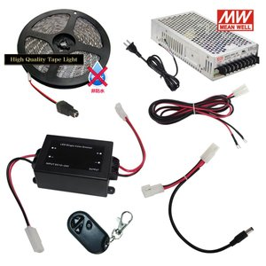 【らくらく200cm×1本セット】 非防水3チップ LEDテープライト+調光器+対応アダプター付き|kaito-shop2011
