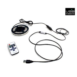 5V USB 単色 1way LEDテープライト 30cm (3528) + RFリモコンセット