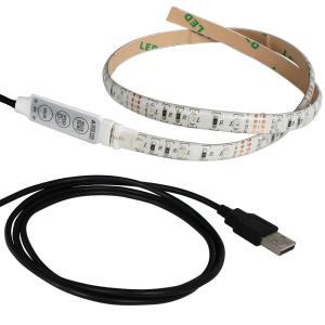 Kaito6961(50本) 防水 USB 流れるLEDテープライト RGB/カラフル(3528) [ミニ調光付き] 50cm DC5V 白ベース|kaito-shop