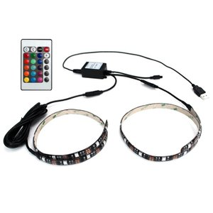 Kaito7856 (10個) USB 防水 LEDテープライト RGB[多色発光] 3チップ 50cm×2Way リモコン調光可能 DC5V|kaito-shop