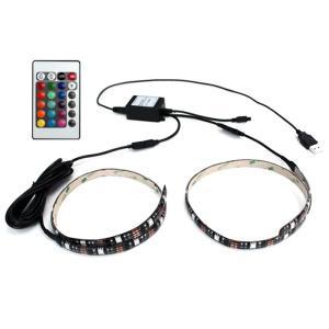 Kaito7960 (1個) USB 防水 LEDテープライト RGB[多色発光] 3チップ 30cm×2Way リモコン調光可能 DC5V|kaito-shop