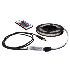 USB 流れる LED防水テープライト200cm RGB/カラフル[3528 SMD] 24キーリモコン型 白ベース DC5V|kaito-shop