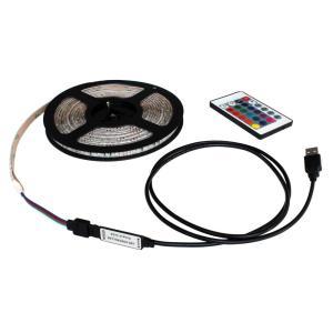 USB 流れる LED防水テープライト350cm RGB/カラフル[3528 SMD] 24キーリモコン型 白ベース DC5V|kaito-shop