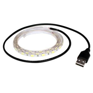 【単色】USB(10個) 細い防水LEDテープライト[白ベース] 100cm DC5V|kaito-shop