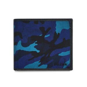 プラダ 財布 2MO513 メンズ 二つ折り 札入れ テッスート カモフラージュ ROYAL ナイロンロイヤルブルー カーフブラック アウトレット|kaitsukedoh