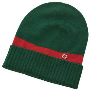 グッチ 帽子 494598-3074 GUCCI ニットキャップ ダブルG ウール100% グリーンxレッド Sサイズ アウトレット|kaitsukedoh