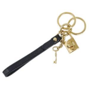 ドルチェ&ガッバーナ キーリング BI0487 DOLCE&GABBANA キーホルダー ループキーリング パドロック 型押しカーフ ブラック ゴールド金具|kaitsukedoh