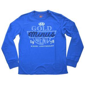 ディーゼル Tシャツ メンズ プリント 丸首 長袖 GOLD ブルー Lサイズ  09u501|kaitsukedoh
