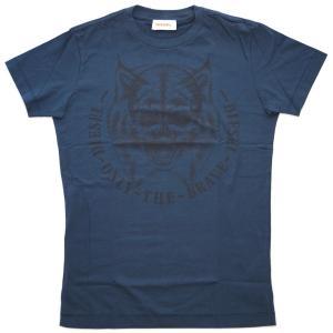 ディーゼル Tシャツ メンズ 半袖 丸首 NABIA プリント ネイビー Sサイズ 261112|kaitsukedoh