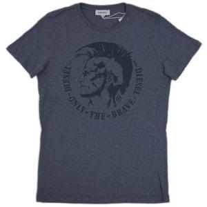 ディーゼル Tシャツ メンズ 半袖 丸首 BNLY THE BRAVE プリント 杢グレー Sサイズ 28701|kaitsukedoh