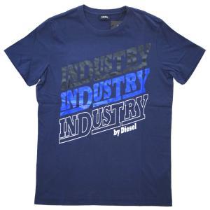 ディーゼル Tシャツ メンズ 半袖 丸首 INDUSTRY プリント ネイビー/ブラック/ブルー/ホワイト 30302|kaitsukedoh