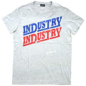 ディーゼル Tシャツ メンズ 半袖 丸首 INDUSTRY プリント 杢グレー/ブルー/レッド/ホワイト 30303|kaitsukedoh