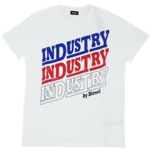 ディーゼル Tシャツ メンズ 半袖 丸首 INDUSTRY プリント ホワイト/ブルー/レッド/ブラック 30304|kaitsukedoh