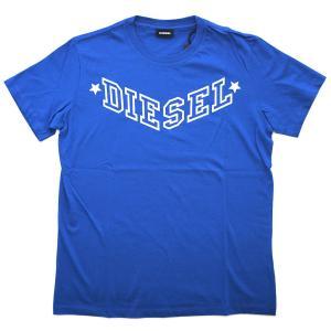 ディーゼル Tシャツ メンズ 半袖 丸首 DIESEL ロゴプリント ブルー/ホワイト 30307|kaitsukedoh