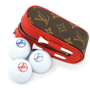 ルイヴィトン アクセサリー GI0297 LOUIS VUITTON ヴィトン ゴルフボールケース ポーチ LV モノグラム セット ゴルフ・アンドリュース ルージュ|kaitsukedoh