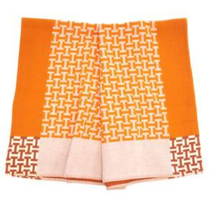 エルメス ブランケット H102556M02 HERMES ソルド アヴァロン H ウール/カシミア ORANGE オレンジ|kaitsukedoh
