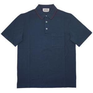 エルメス ポロシャツ H747390HA72 HERMES ソルド メンズ 半袖 コットン100% BLEU PILOTE ネイビー XSサイズ|kaitsukedoh