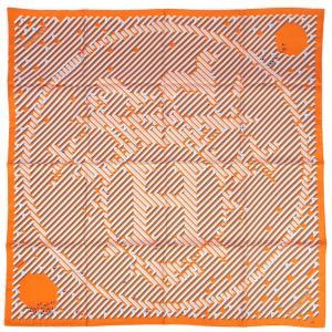 エルメス スカーフ H002720S HERMES ソルド カレ ツイル シルク100% 90CMS PARCOURS D'H オレンジ/グレー 03201|kaitsukedoh