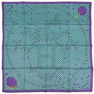 エルメス スカーフ H002720S08 HERMES ソルド カレ ツイル シルク100% 90CMS PARCOURS D'H バイオレット/グリーン 03202|kaitsukedoh