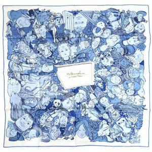 【わけあり】エルメス スカーフ HERMES ソルド カレ ツイル シルク100% 90CMS METAMORPHOSES PAR PARIS ホワイト/ブルー/スカイブルー 29257|kaitsukedoh
