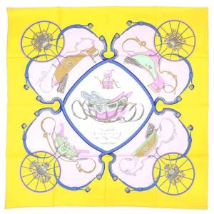 【わけあり】エルメス スカーフ H001573S42 HERMES ソルド カレ ツイル シルク100% 90CM SPRINGS ジョーヌ・シトロン/パルム/ブルー 30d04|kaitsukedoh