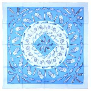 エルメス スカーフ H001410S14 HERMES ソルド カレ ツイル シルク100% 90CMS PLUMES II ブルー・グラシエ/アズール/アルドワーズ 30d28 kaitsukedoh