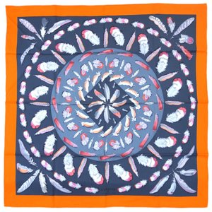 エルメス スカーフ H001410S11 HERMES ソルド カレ ツイル シルク100% 90CMS PLUMES II オレンジ・ヴィフ/グレー/モーブ 30d30 kaitsukedoh