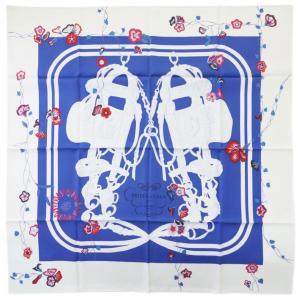 【わけあり】エルメス スカーフ H003099S16 HERMES ソルド カレ ツイル シルク100% 90CMS BRIDES FLEURIES ロイヤルブルー/ホワイト/ルージュ 31224|kaitsukedoh