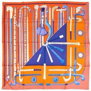 【わけあり】エルメス スカーフ H003140S05 HERMES ソルド カレ ツイル シルク100% 90CMS CANNES ET CANNES オレンジ/ブルー/アイボリー 31712|kaitsukedoh