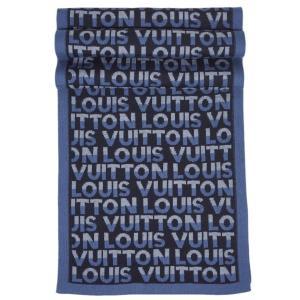 ルイヴィトン マフラー M70910 LOUIS VUITTON ヴィトン LV メンズ エシャルプ・LVスプリット ウール100% ブルー|kaitsukedoh