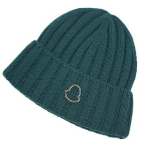 MONCLER モンクレール 帽子 ニットキャップ ワンポイント カシミア100% ダークグリーン アウトレット|kaitsukedoh