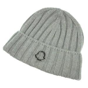 MONCLER モンクレール 帽子 ニットキャップ ワンポイント カシミア100% グレー アウトレット|kaitsukedoh