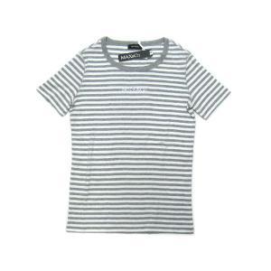 マックスアンドコー Tシャツ 丸首 半袖 ボーダー グレーxホワイト ロゴラインストーン |kaitsukedoh