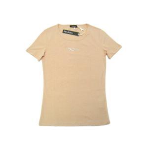マックスアンドコー Tシャツ 丸首 半袖 無地 ラインストーン ロゴ ライトオレンジ|kaitsukedoh