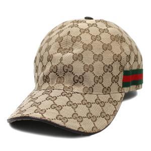 【中古】グッチ 帽子 200035 GUCCI シェリーライン GGキャンバス ベースボールキャップ L 59サイズ ベージュ YJ03971-01103|kaitsukedoh