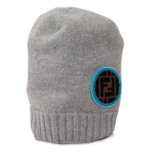 【中古 未使用】フェンディ 帽子 FXQ538 FENDI ニット帽 キャップ ウール ズッカ グレーxブルーxブラウン YJ2970|kaitsukedoh