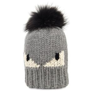 【中古 美品】フェンディ 帽子 FENDI ニット帽 キャップ モンスター ウール100% グレーxホワイトxブラック YJ3119|kaitsukedoh