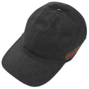 【中古 美品】グッチ 帽子 200035 GUCCI シェリーライン GGキャンバス ベースボールキャップ L 59サイズ ブラック YJ3437|kaitsukedoh